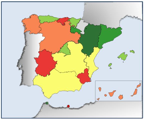 Mapa doble bonificación de ibi e ibio para placas solares por comunidad