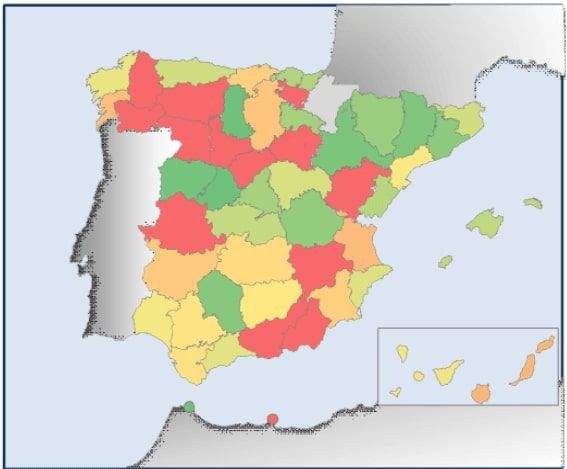 Mapa zonas doble bonificación para placas solares por provincia