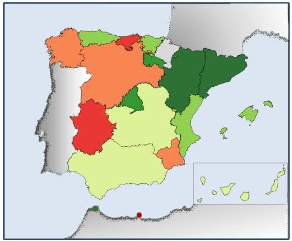 Mapa subvenciones placas solares por comunidad autónoma